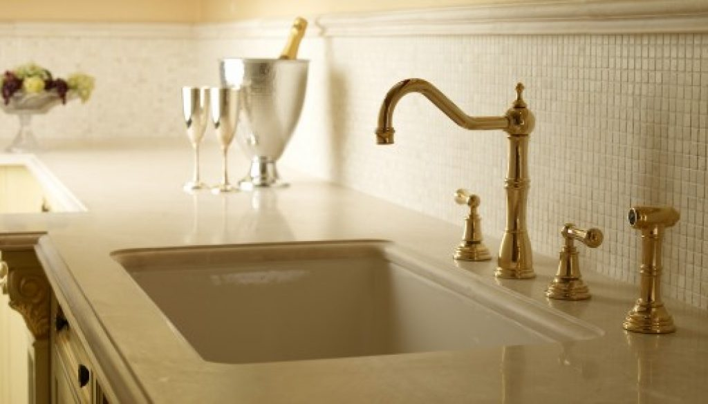 ROHL Perrin Rowe® Four Hole Kitchen Faucet with Sidespray shown in Inca Brass Lifestyle