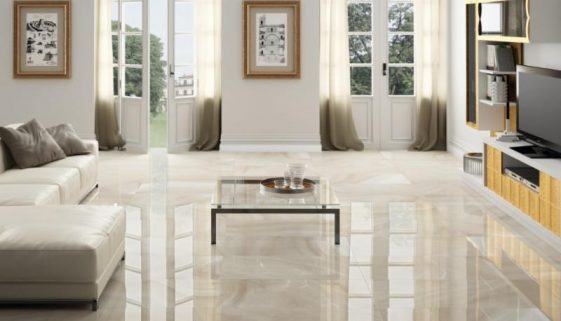 "Ceracasa - Absolute Series. Porcelain floor tiles in high gloss. Color: Sand (20X40"")"