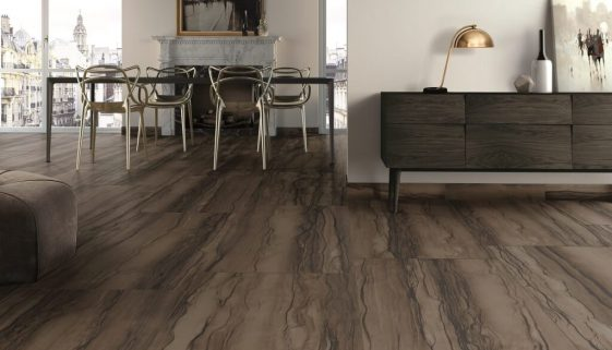 Walker Zanger Sequoia collection offers the look and feel of exotic natural stone and the durability of porcelain. Shown in Puro. Credit Walker Zanger